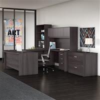 modern u shaped desk with hutch