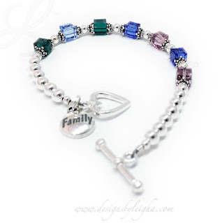 Family 7 Birthstone Bracelet - May or Emerald, December or Blue Topaz, September or Sapphire, June or Alexandrite