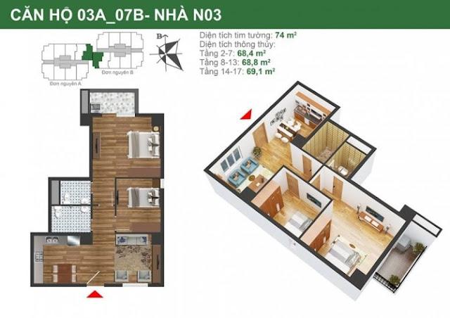 Mặt bằng căn hộ 03A-07B