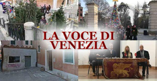 Collage dei miei ultimi articoli su ''La Voce di Venezia'': alberi di Natale, sgomberi e Venezia.com