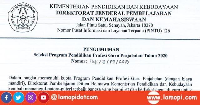 Pendaftaran PPG Prajabatan Tahap 2 Mulai 2-30 Januari 2020
