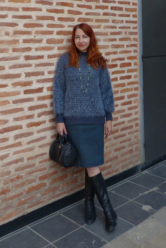 slate grey fluffy sweater over pencil dress