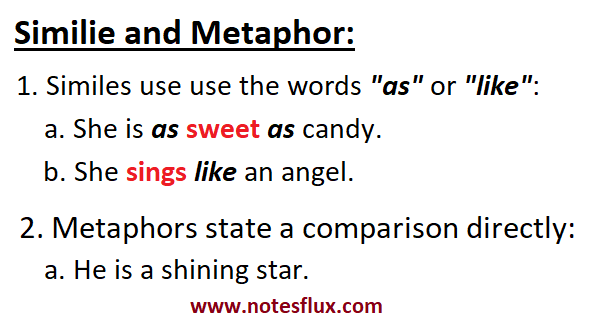 Simile and metaphor: She sings like an angle. She is as sweet as candy. He is a rising star.