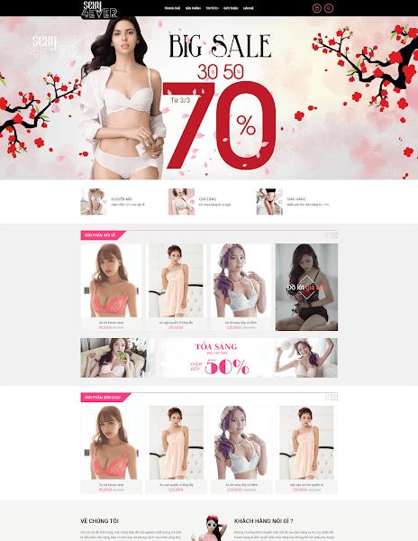 Mẫu giao diện blog bán hàng thời trang