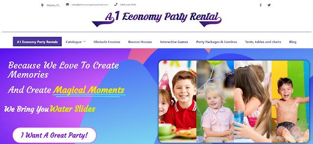 A1 Economy Party Rental, optimización SEO on Page de empresa de renta y planificación de eventos en Miami, Florida.