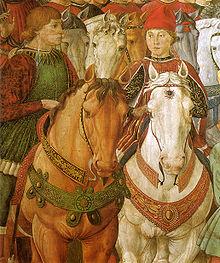Sigismondo Malatesta with Galeazzo Maria Sforza in a fresco by Benozzo Gozzoli
