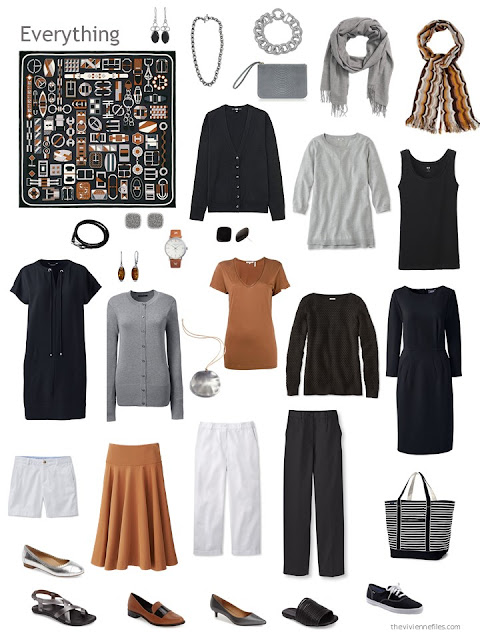travel capsule wardrobe in black, white, grey and caramel