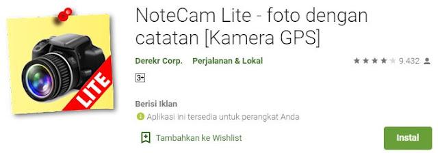 notecam lite foto dengan tanggal dan lokasi