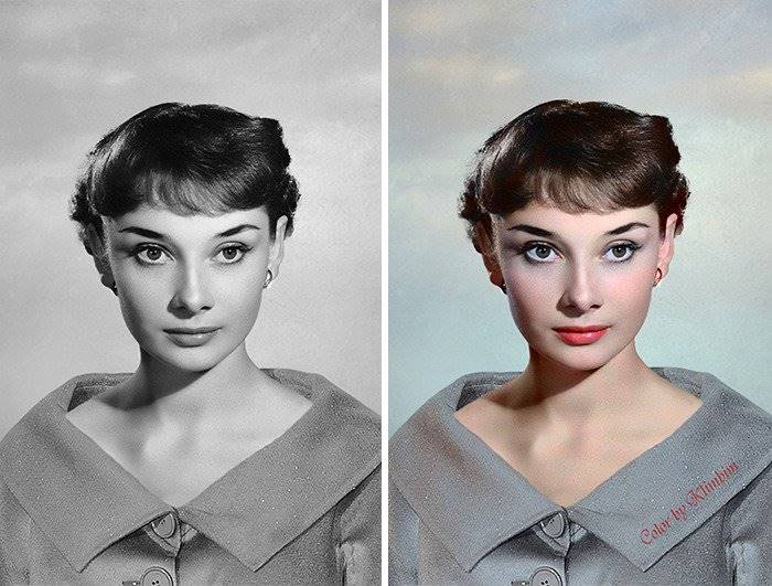 Colorized photographs of Hollywood stars of the Golden Age