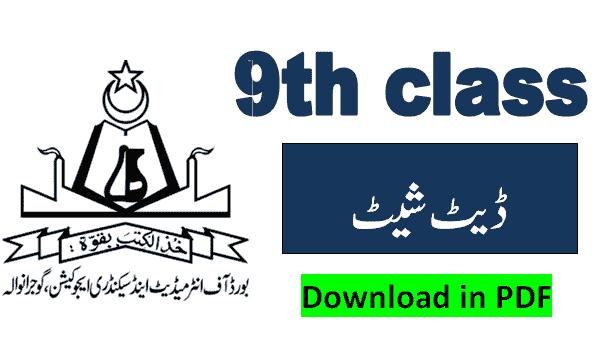 9th class date sheet 2021 gujranwala board pdf