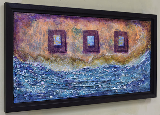 fabric and clay textured acrylic seascape