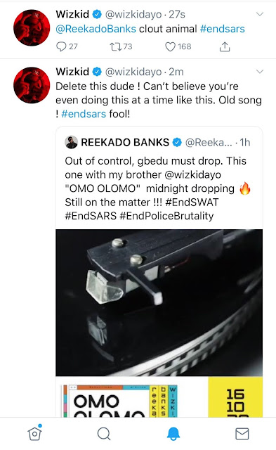 Twitter On Fire As Wizkid Attacks Reekado Banks For Trying To Release Their Collabo