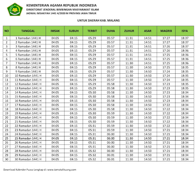jadwal imsak waktu buka puasa Kabupaten Malang 2020 m ramadhan 1441 h tomatalikuang.com