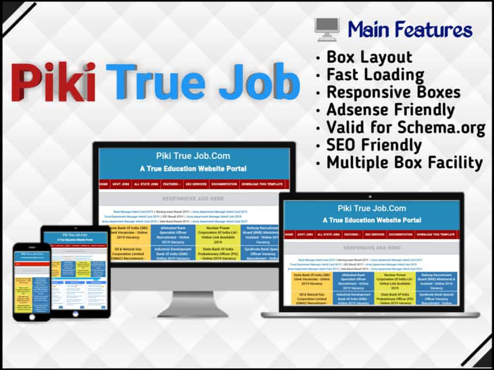 true blog blogger template , jobs blogger template , Sarkari Jobs Result blogger templates , seo boost blogger template, blogger template education, best template  ,blogger template ,seo optimized ,  adsense blogger template , material blogger template , super seo blogger template ,Piki True Job best blogger template ,  blogger template without images