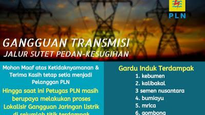 Informasi Gangguan Transmisi Jalur Sutet Pedan - Kesugihan