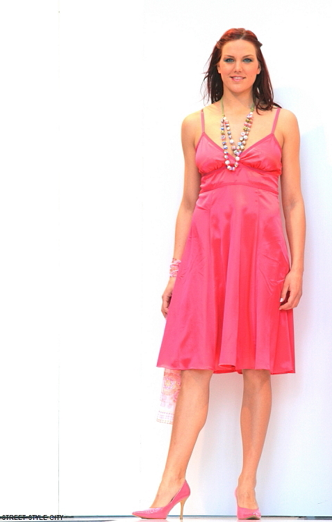 Pink satin summer dress street style fashion outfit.Streetstyle fashion look.