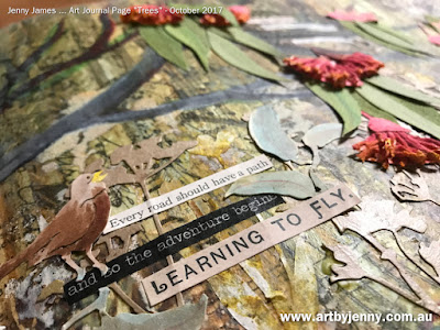 Learning to Fly ... art journal page by Jenny James using stickers from Tim Holtz