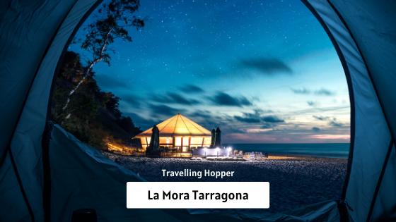 La Mora Tarragona: Night Walk On The Beach Playa de la Mora in Tarragona Catalonia, Spain. September, 2019