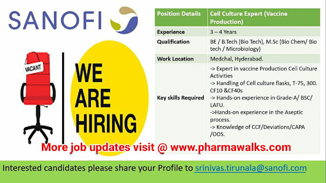 Sanofi hiring for Cell Culture Expert (Production) | Apply Now | Pharma Walks