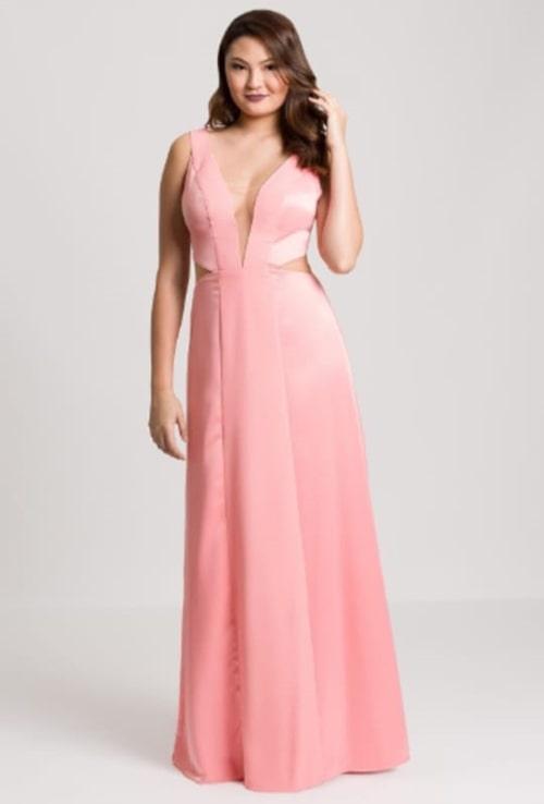 vestido de festa longo rosa para casamento durante o dia