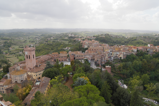 View of San Miniato cathedral and Tower of Matilde with town, Tuscany, Italy