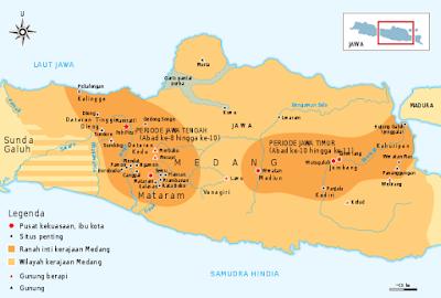Peta Kerajaan Mataram Kuno Pada Periode Jawa Tengah dan Jawa Timur