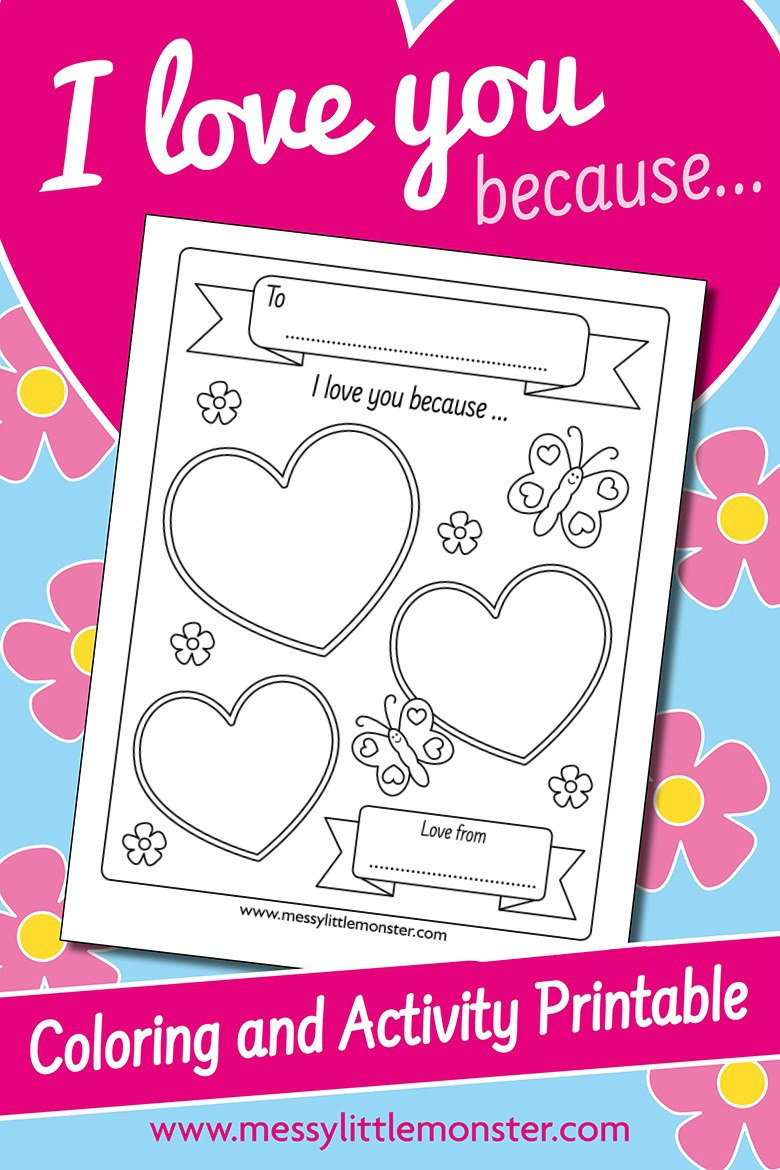 I love you because printable for kids