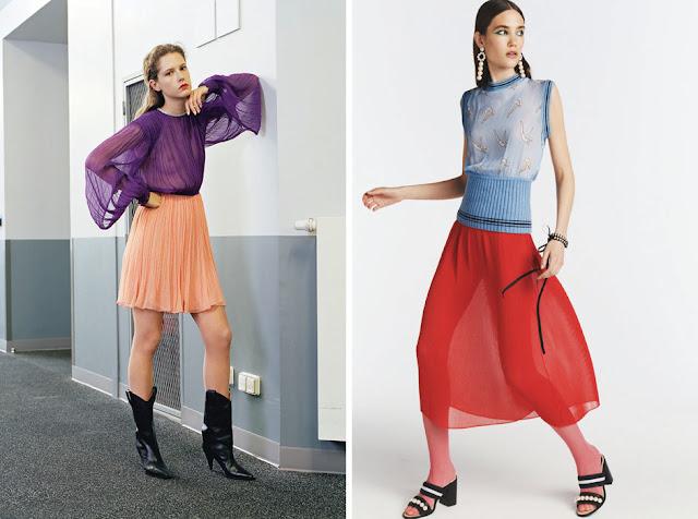Сочетание фиолетового и оранжевого, голубого и красного цветов в одежде