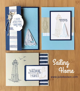 Stampin' Up! 14 Come Sail Away ~ Sailing Home Card Kit ~ 2019-2020 Annual Catalog ~ www.juliedavison.com