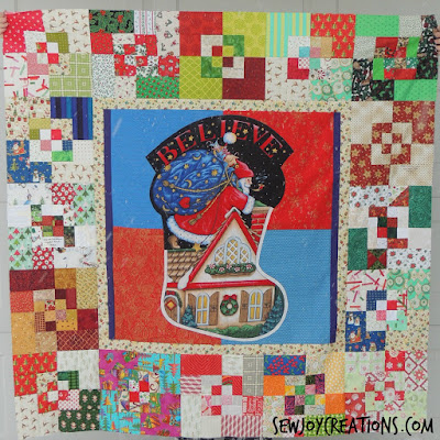 scrappy bento box christmas quilt top