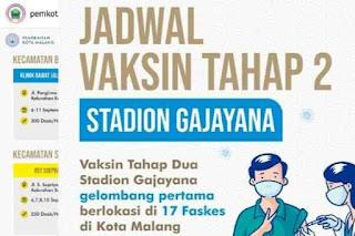 Link Pendaftaran dan Jadwal Vaksinasi di Kota Malang Sampai 11 September 2021