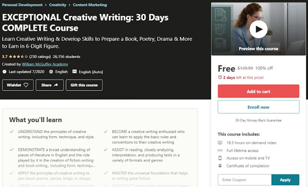 [100% Off] EXCEPTIONAL Creative Writing: 30 Days COMPLETE Course| Worth 139,99$