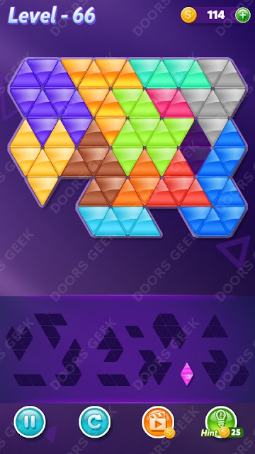 Block! Triangle Puzzle Champion Level 66 Solution, Cheats, Walkthrough for Android, iPhone, iPad and iPod