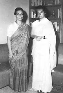 Film Historian and Eduvationist Vijaya Mulay with  Indira Gandhi.