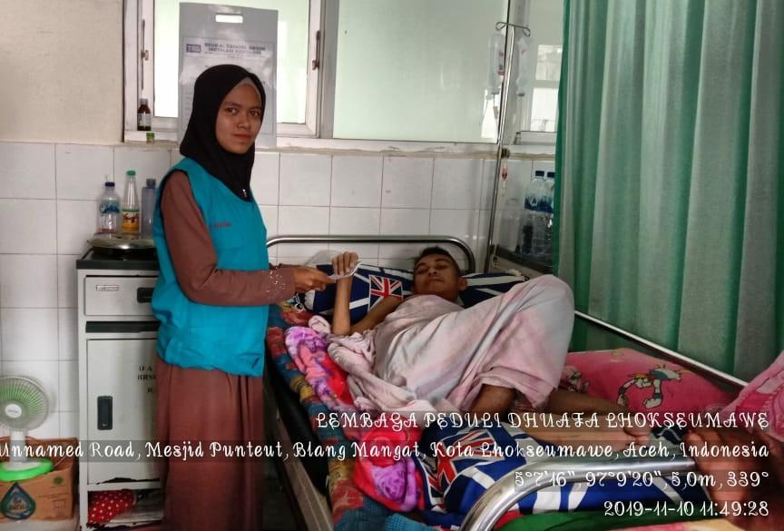 LPD Indonesia Kota Lhokseumawe, Santuni Iwan penderita Tumor dan Kanker yang sedang menjalani perawatan dirumah sakit Cut Mutia