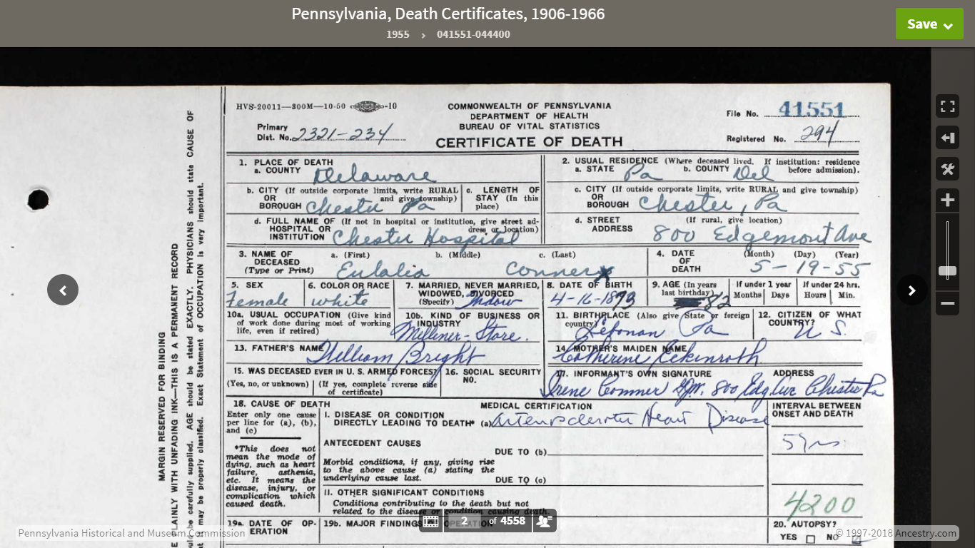 Genea Musings Somethings Wrong With Ancestry Pennsylvania Death
