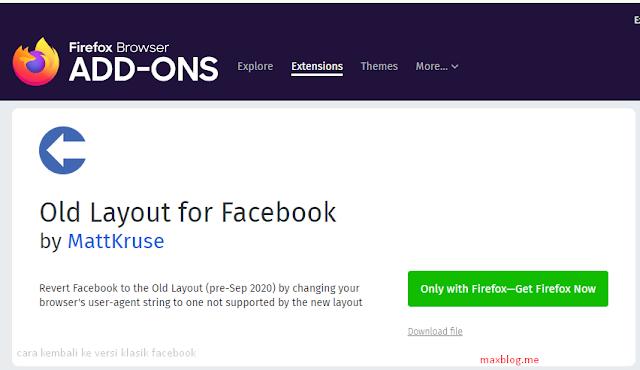 cara kembali ke versi klasik facebook dengan extension firefox