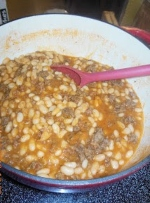 Frugal and delicious, White Beans with Ground Beef and Tomato Sauce.