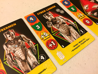 A selection of cybermen character cards from Doctor Who: Exterminate!