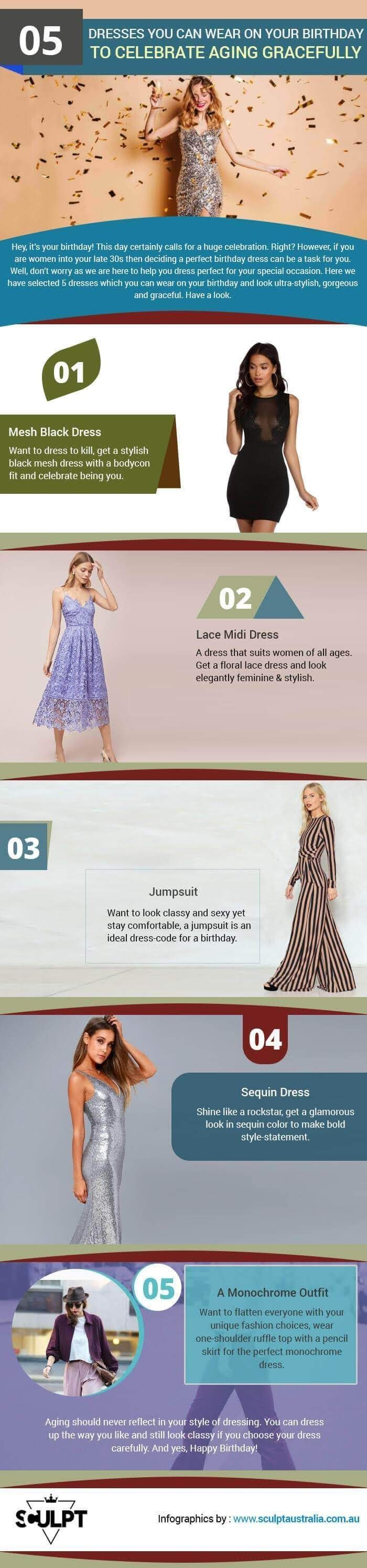 5 Dresses To Wear On Your Birthday #infographic
