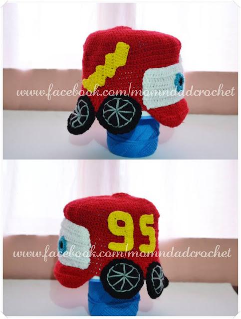 character hats, crochet hat, McQueen Car hat