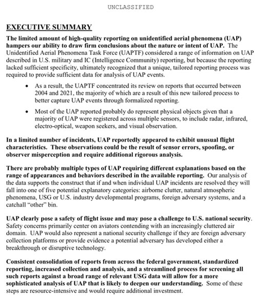 Executive Summary of UAP Preliminary Assessment Report (Source: Office of DNI, 25 June 2021)
