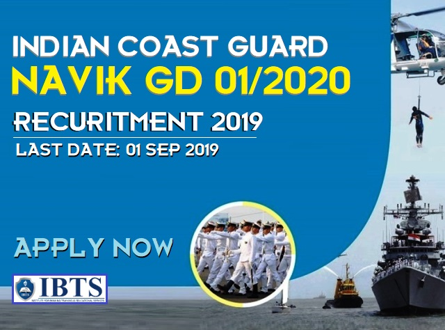 Indian Coast Guard Navik GD 01/2020 Recruitment 2019 : Apply Online