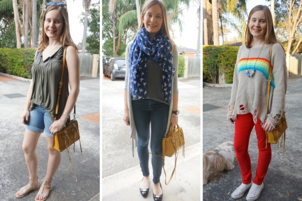 How to wear mustard yellow Rebecca Minkoff micro Regan bag in multiple seasons | AwayFromBlue