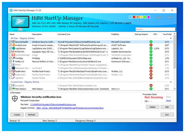 HiBit Startup Manager :   Διαχειριστείτε  τα προγράμματα αυτόματης εκκίνησης