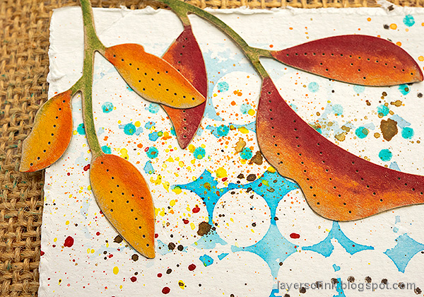 Layers of ink - Autumn Tree Colored Pencils on Kraft tutorial by Anna-Karin Evaldsson. Leaves with colored pencils.