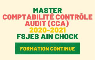 Exemple de Concours Master Comptabilité Contrôle Audit (CCA) 2020-2021Formation Continue - Fsjes Ain Chock