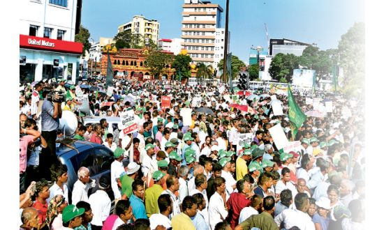 The protest is organised by the United National Party (UNP) against alleged false