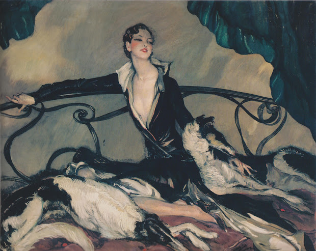 Art Deco Painting of Woman with Greyhounds