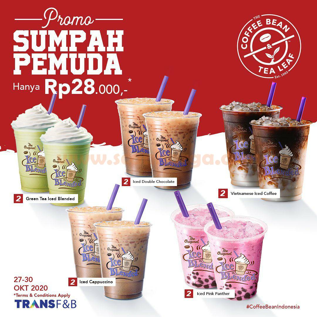 The Coffee Bean Promo Sumpah Pemuda - Pilih 2 Minuman hanya Rp 28.000
